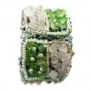 Bracelet en pierre de Rocaille carré Vert & blanc