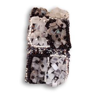 Bracelet en pierre de Rocaille carré Noir et Blanc