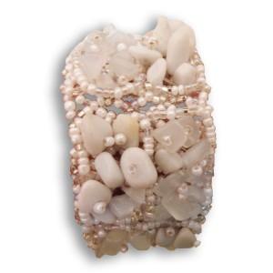 Bracelet en pierres de rocaille et perles Blanc